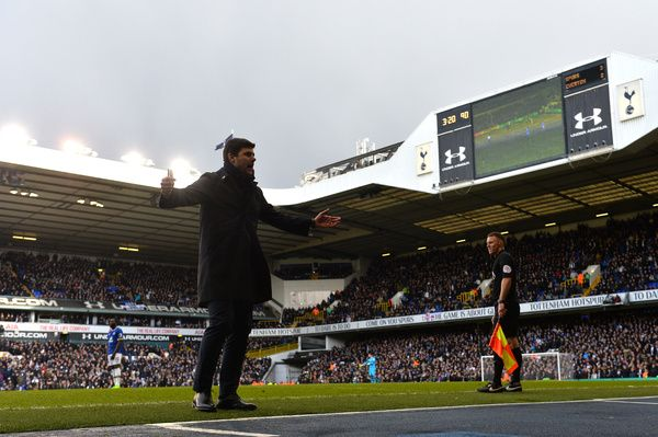 LONDON, ENGLAND - MARCH 05: Mauricio Pochettino, Manager of Tottenham Hotspur looks on from the touchline during the Premier League match between Tottenham Hotspur and Everton at White Hart Lane on March 5, 2017 in London, England