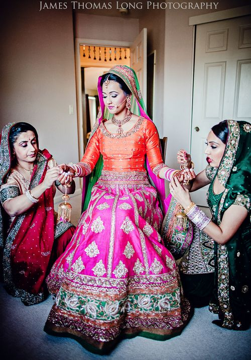 Lehengas / Half Sarees, Indian wedding outfit, Colorful lehenga