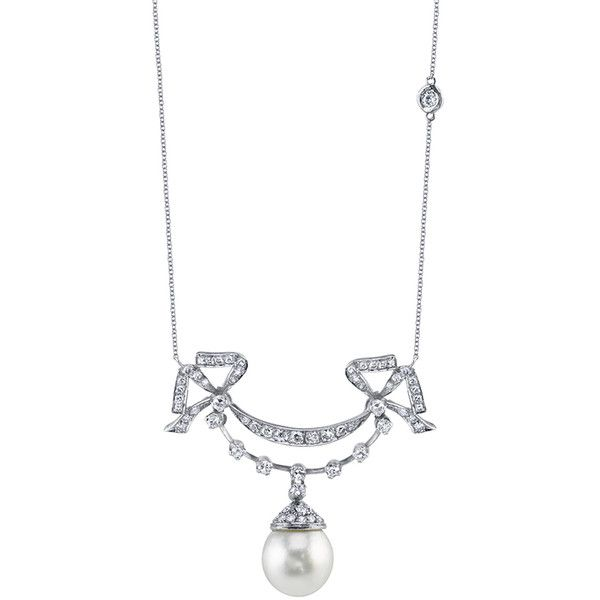 PEARL DROP BOW NECKLACE ❤ liked on Polyvore featuring jewelry, necklaces, pearl bow necklace, pearl necklace, 18 karat gold necklace, white pearl necklace and bow necklaces