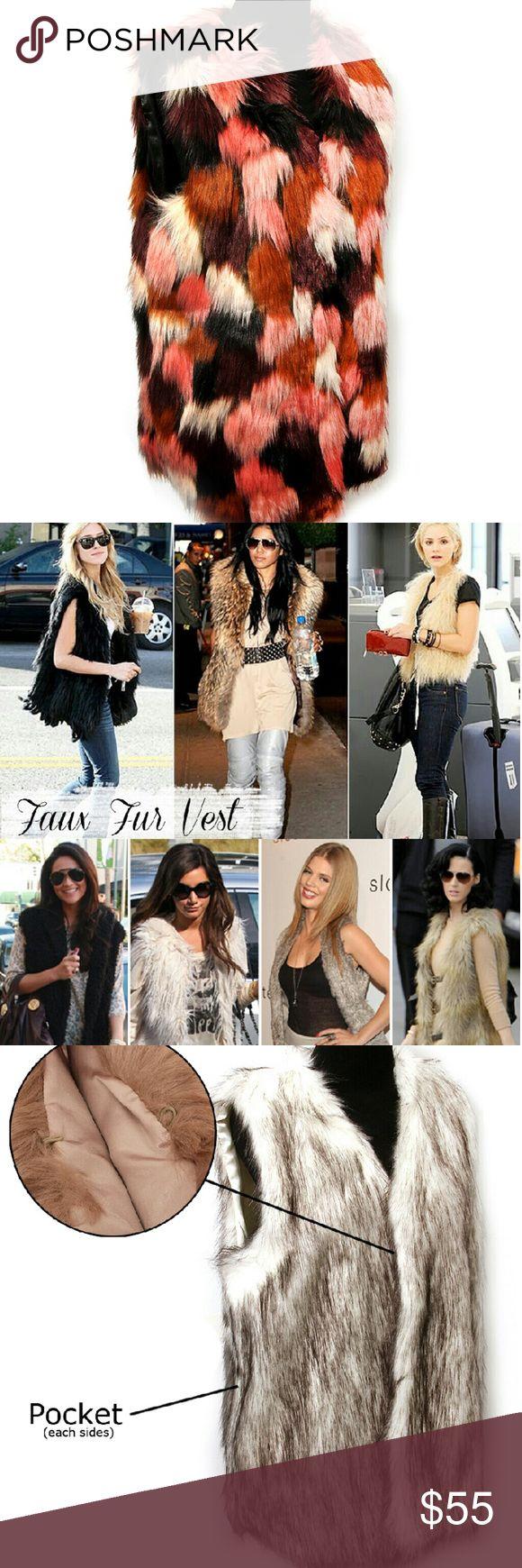 Fur Multi Color Vest 70cm long Trendy Small Medium  Large Jackets & Coats Vests