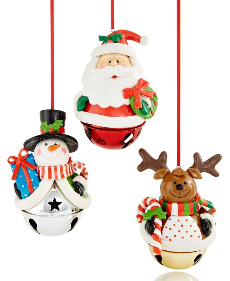 Perfect for ringing in some holiday cheer! A playful trio of characters, this set of three ornaments feature Santa, a reindeer and a snowman, each set atop a jingle bell. | Character: clay dough; bell