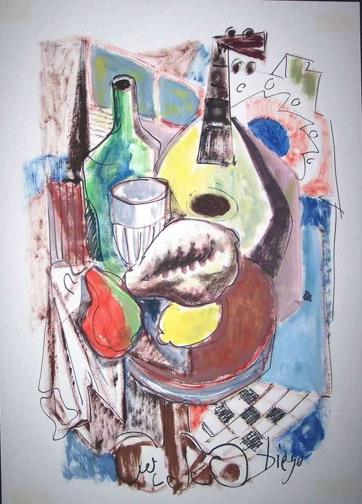 """#DiegoVoci™  Drawings using mixed media were a favorite pass time for Diego. Here, the """"Spanish Table"""" (25"""" x 20) no doubt shows Diego's personality of entertaining with friends: #Music, #Wine, #Food, in a relaxed and enjoyable atmosphere."""