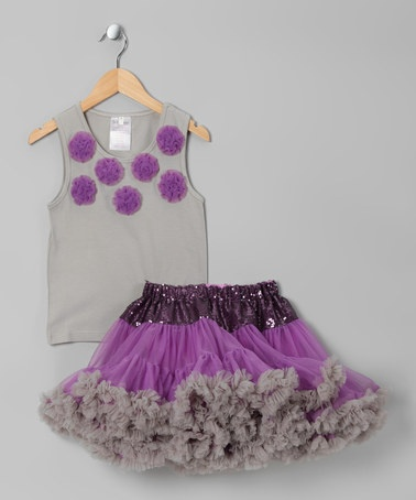 {Lavender & Gray Flowers Tank & Pettiskirt - Toddler & Girls by Yuli n Grace Couture} My daughter would love this, lol.