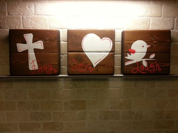 Set of 3 wooden painted signs girl room bird heart cross for Adoption Fundraiser