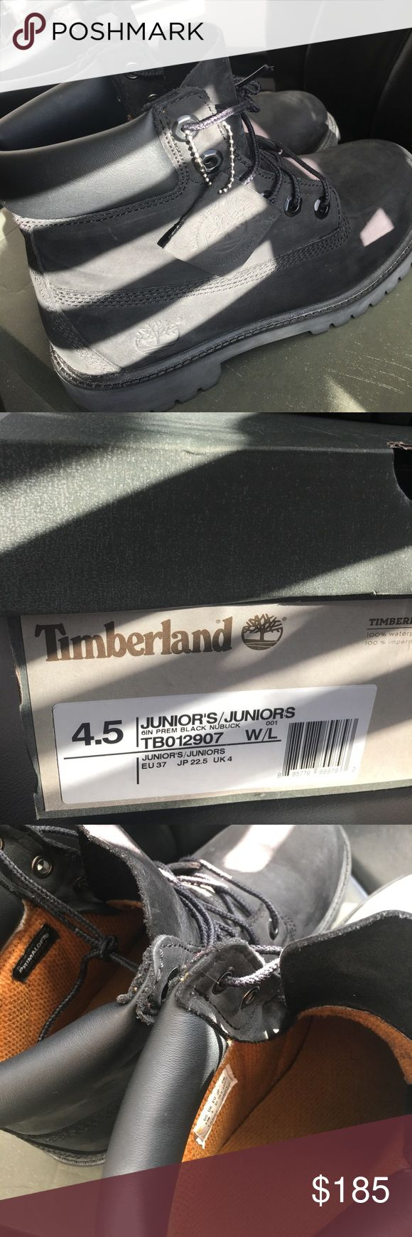 Timberland Black Boots Junior Size 4.5, EU Size 37 Worn Less than 10 times. I'm selling them because they fit a little too big on me! Timberland Shoes
