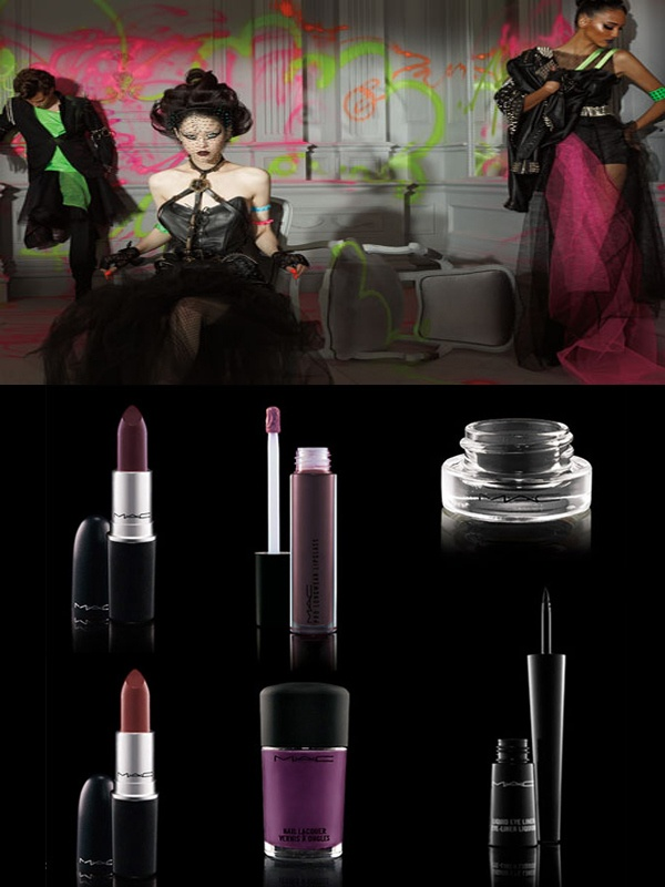 MAC Punk Couture Collection - I'm pretty sure the lipsticks could be replaced with Revlon Va Va Violet and Black Cherry for a similar effect.