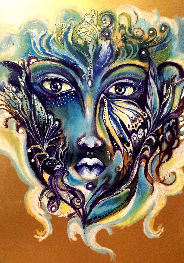 Blue Face  A/4 arany fotókarton  golyós toll, olaj pasztell   Nikodém Mónika