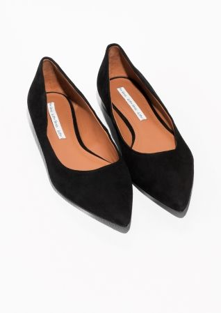 & Other Stories image 2 of Pointy Suede Ballerina in Black