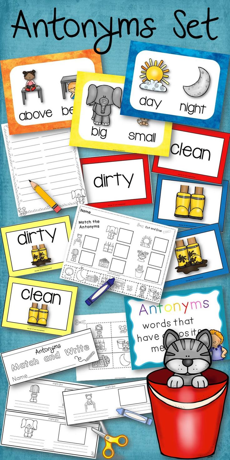 Antonyms set - posters, matching cards, book to create