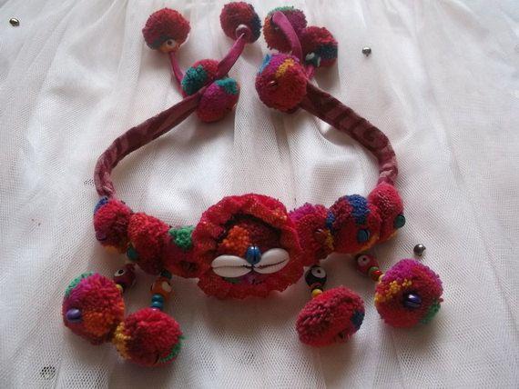 Thai-Hmong Handmade Wire Hair.Charm. Colorfulness with pom pom HB022