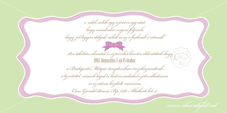 Mesés esküvő, vidám stílusú esküvő dekoráció, almás esküvő, zöld-lila esküvői dekoráció, desszert dekoráció (Meghívó belseje)