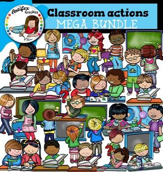 Classroom actions clip art set contains 50 image files, which includes 25 color images and 25 black & white images in png.All categories include two images: one of a boy and one of a girl (except help each other, work together and share a book).Classroom actions clip art includes:1.