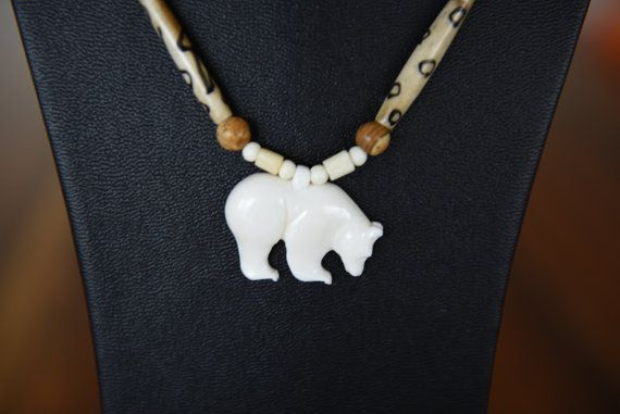 Beautiful shamanism statement necklace white bear a by Arunasworld
