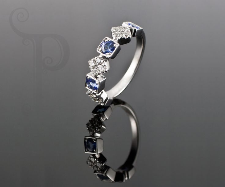 Handmade Platinum Eternity Ring, Set Tanzanite's and Round Brilliant Cut Diamonds