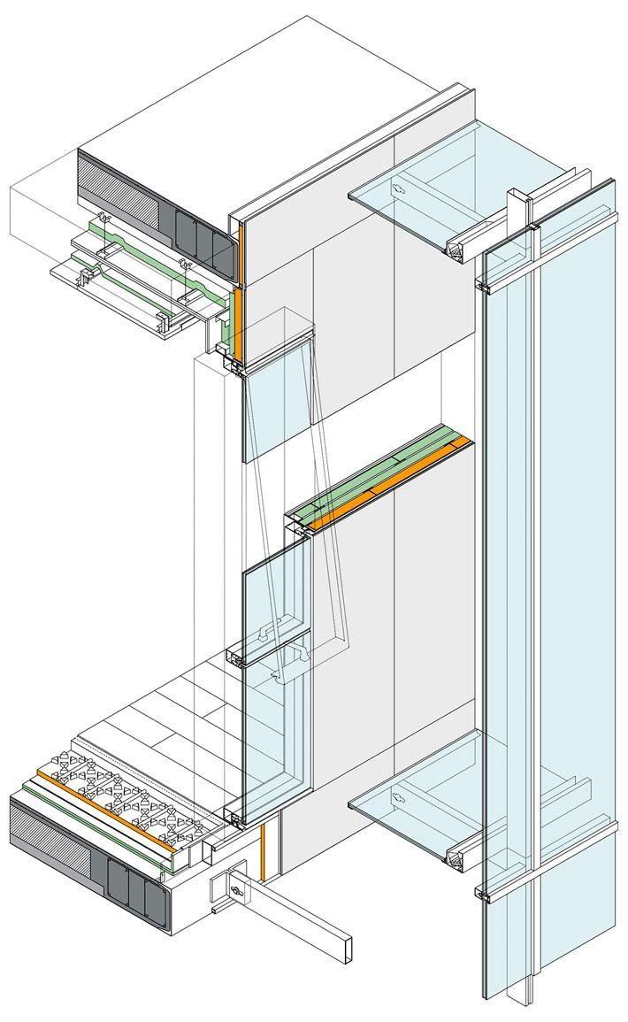 Axonometría constructiva. Detalle de la fachada del Conservatorio de Música en Sarriko, de Roberto Ercilla y Miguel Ángel Campo. Detalle.