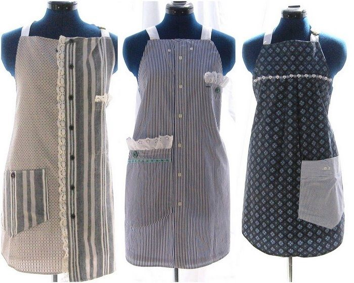 Great idea! Instead of throwing out or donating your husband's old dress shirts make aprons out of them instead. Love these where she used two different shirts, added some lace and used the back of the shirt to add pockets.