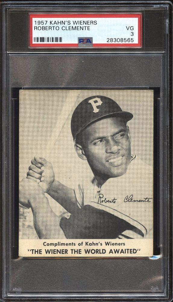 1957 Kahns Wieners Roberto Clemente Rookie Pirates Psa 3 Vg