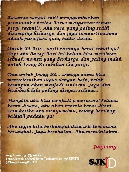 Pesan dari JYJ Jaejoong untuk Song Joong Ki
