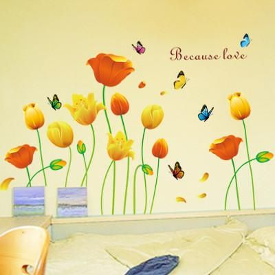 Tulip romantic flowers sitting room the household adornment of the bedroom wall stickers