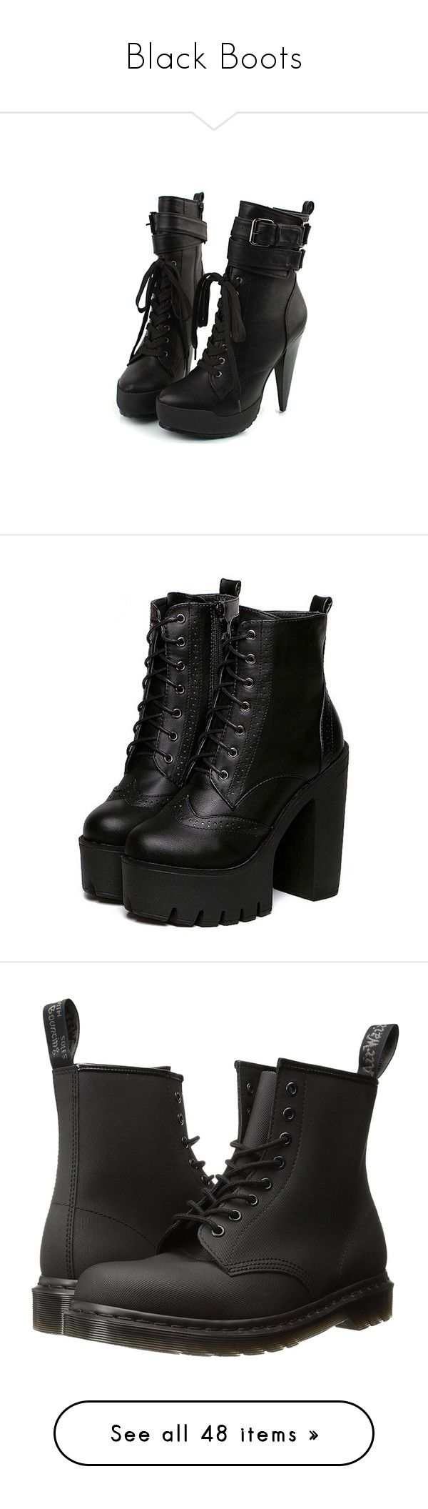 """Black Boots"" by sheisjulia ❤ liked on Polyvore featuring shoes, boots, heels, sapatos, zapatos, women, spiked heel shoes, heeled boots, spiked boots and spiked shoes"