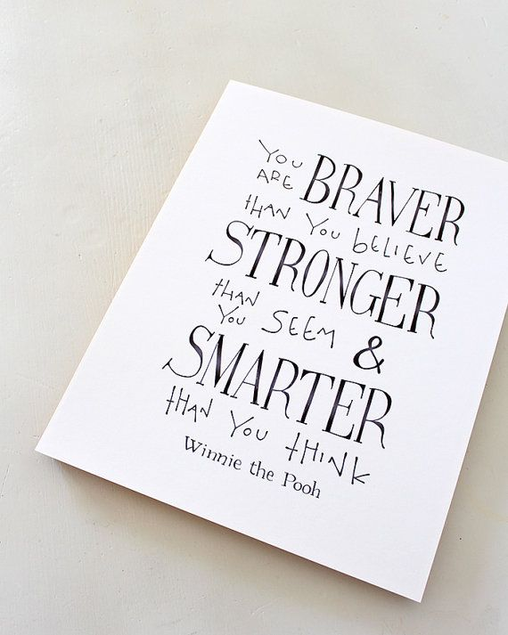 You are BRAVER than you believe... Winnie the Pooh Quote, Disney Movie Quote Poster, typographic print kids wall art, nursery art on Etsy, $14.00