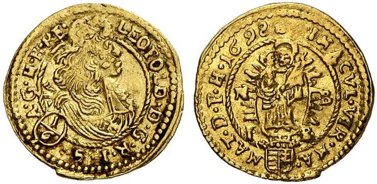 AV 1/6 Ducat. Hungary Coins, Habsburg Rulers, Leopold I. 1657-1705. Nagybánya mint, 1698 NB/IB. 0,60g. F 154. R! Good VF. Price realized 2011: 450 USD.