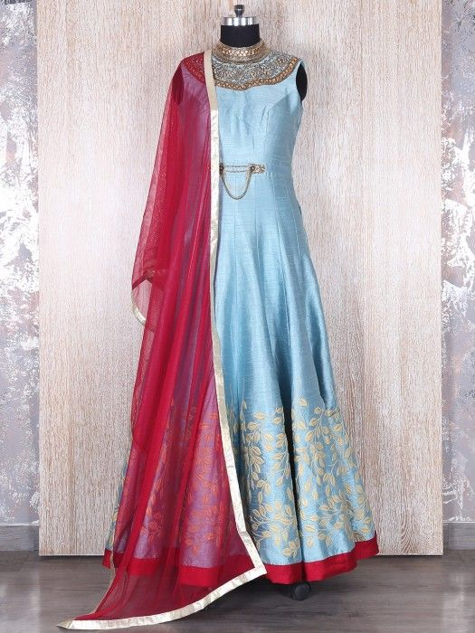 Shop Sky blue raw silk designer anarkali suit online from G3fashion India. Brand - G3, Product code - G3-WSS20291, Price - 11200, Color - Blue, Fabric - Silk,
