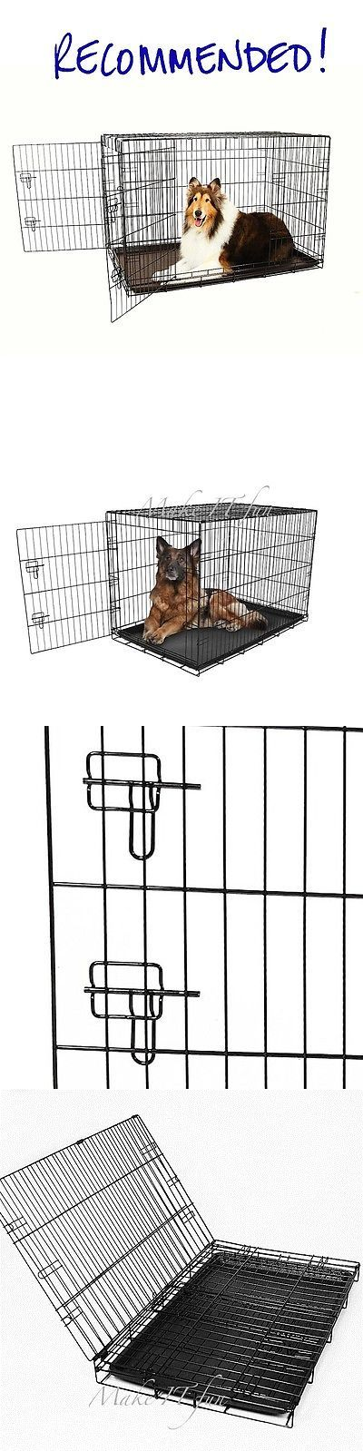 Cages and Crates 121851: 48 Inch Extra Large Dog Kennel 2 Door Heavy Duty Steel Crate Metal Wire Pet Cage BUY IT NOW ONLY: $77.1