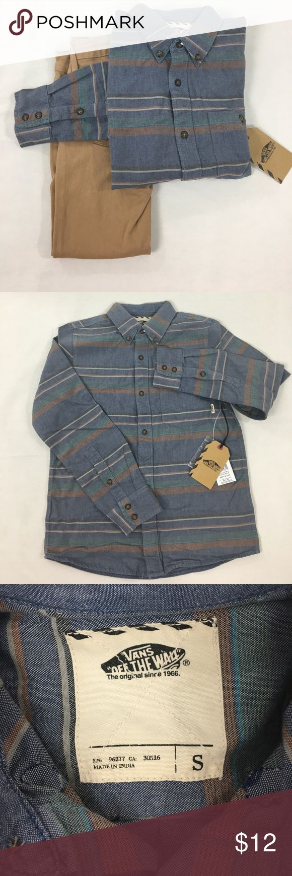 Boys Vans button down shirt Boys Vans button down shirt. Size S, made from 100% cotton. Brand new, no damages. Colors featured are blue, green, orange, gray, and black. Vans Shirts & Tops Button Down Shirts