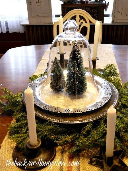 Christmas Cloche silver trays thebackyardbungalow.com