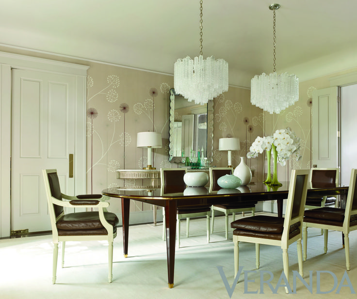 Jan Showers Brings A Sparkle And Glistening Quality To The Dining Room With Mid Century Venini Chandeliers