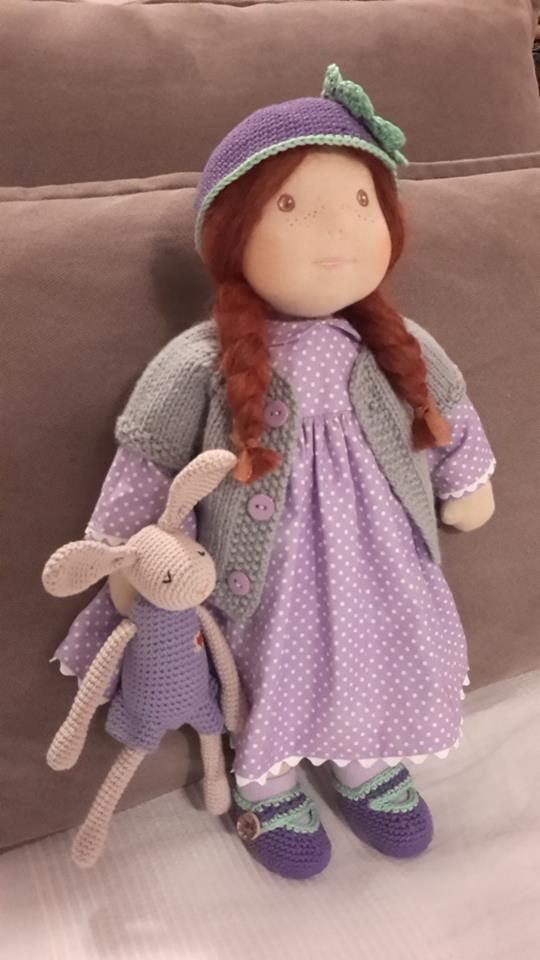 Doll Chloe is 17.7'' inches (45 cm) tall and her rabbit 7.7'' inches (19 cm) - handmade by Katerina Maletzidou 03/2016