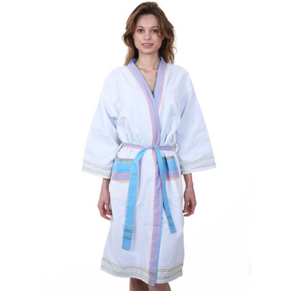 Aspiga Ladies Dressing Gown - White Wrap up in luxury with our wonderfully soft cotton dressing gown. It features an cosy turquoise towelling lining so is perfect after a bath or shower or even as a beach cover up. A fabulous gift idea. £48. Worldwide Shipping Available.