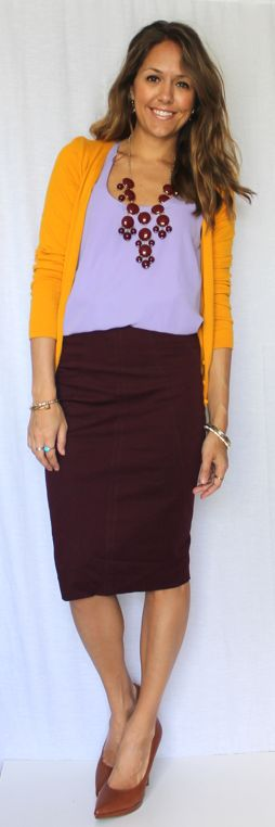 Love the color combo of this outfit - orange cardigan, brown skirt & purple top!