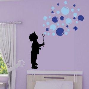 Sticker silhouette enfant souffleur de bulles de savon 3 couleurs deco pinterest pochoir for Pochoir chambre garcon