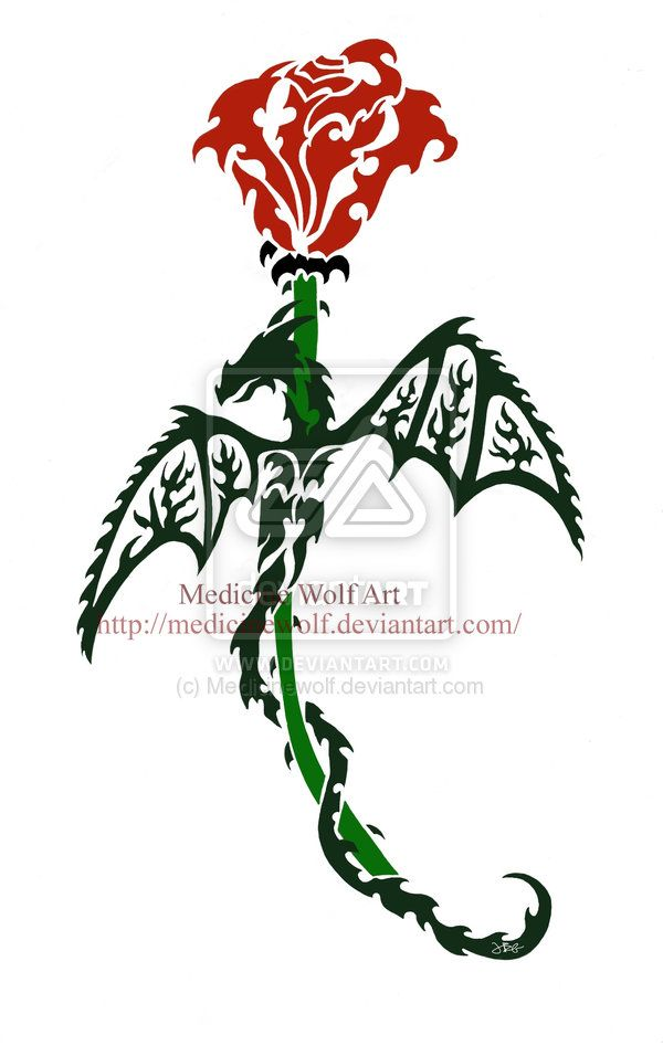 Dragon And Rose Commission Fin By Ikaikadesign On