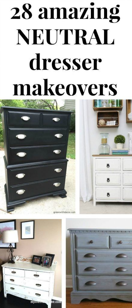 Black, white, tan and gray dresser makeovers - great inspiration for your next DIY painting project for your bedroom!