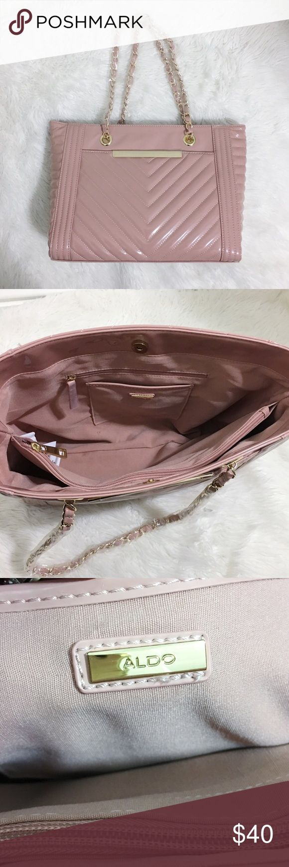 "NEW Aldo Tote Bag Beautiful blush pink color with gold chain. Faux leather material on the outside. Has a magnetic snap closure. Measurements are: 11.25"" height/13.75"" width Aldo Bags Totes"