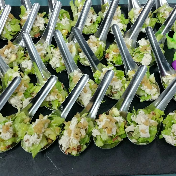 Our chicken caesar spoons.  Fresh Homemade catering. Kaitri's Catering  Www.facebook.com/ kaitriscatering