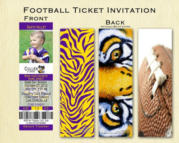 LSU Football Birthday Ticket Invitation on Etsy, $18.00