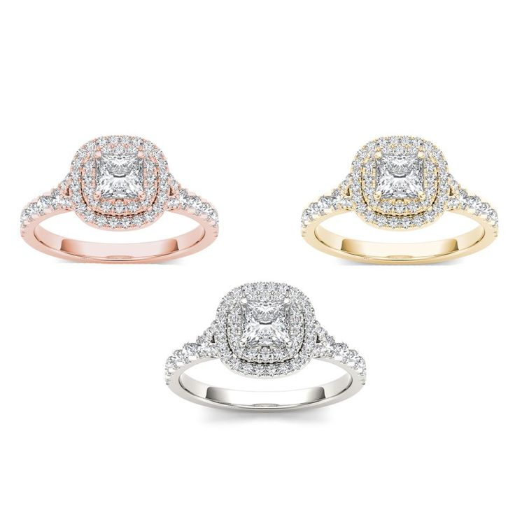On the day you ask for her hand, wow her with this stunning engagement ring crafted in gold. Featuring a brilliant princess-cut diamond center stone, it is surrounded by a frame of smaller round diamond accents atop a diamond-lined shank.