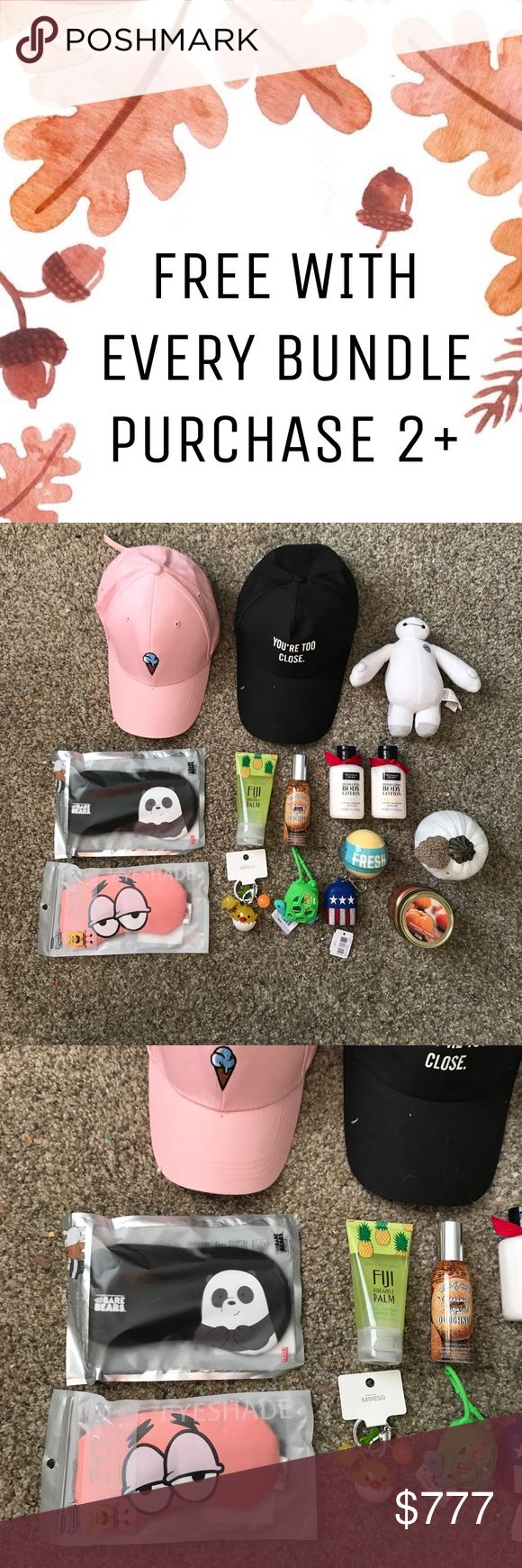 Free with every bundle purchase 2+ Free with a bundle purchase of two items or more:  Ice cream baseball cap You're too close cap Baymax plush We bear bears eye mask Patrick mask Victoria Secret lotion Fresh PINK bath bomb Donut room spray  Pineapple shower gel Chicken keychain  Turtle pocketbac USA pocketbac Pumpkin candle  White pumpkin decor  🌈🌈🌈 ONLY ONE ITEM PINK Victoria's Secret Other