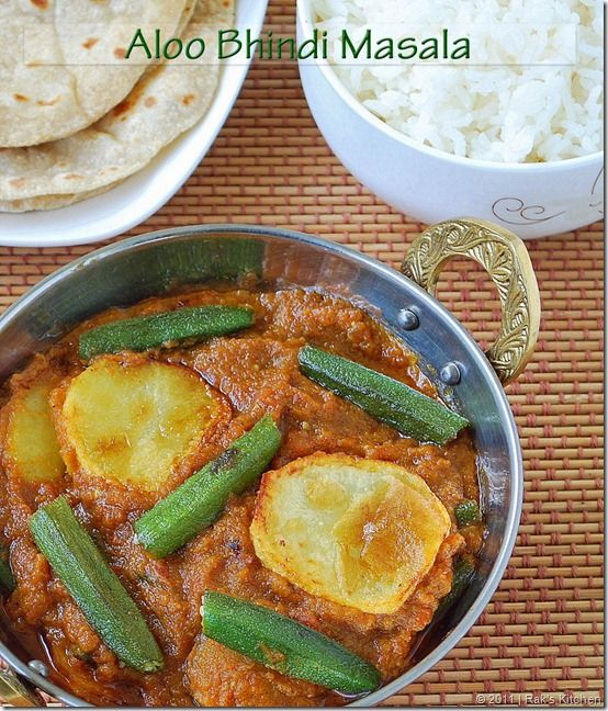 A tangy flavorful gravy with potato and okra - a different side dish for roti/ phulka and mild pulaos!