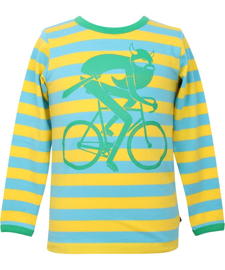 Danefæ super hippe geel-turquoise gestreepte t-shirt met fietsende viking. danefae.nl.emilea.be