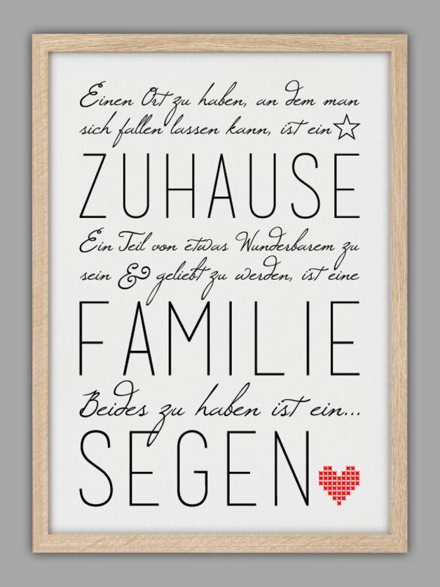 """Originaldruck - """"FAMILIE IST EIN SEGEN"""" Kunstdruck - ein Designerstück von Smart-Art-Kunstdrucke bei DaWanda"""