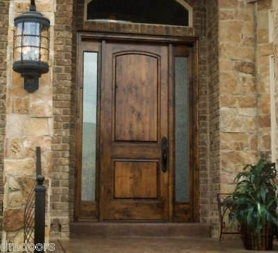 Rustic knotty alder 2 panel solid wood entry door exterior for Solid wood front doors