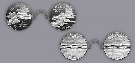 The set of two collector silver coins dedicated to Eduards Veidenbaums.  Face value: 2.5 euro each coin, total 5 euro Weight: 20.00 g each coin  Diameter: 35.00 mm Metal: silver of fineness .925 Quality: proof  Maximum mintage: 3 000 Struck in 2017 by Koninklijke Nederlandse Munt (The Netherlands)  #silver #euro #Latvia #Veidenbaums #coin #numismatic #collector #proof #sudrabs #monētas #eiro