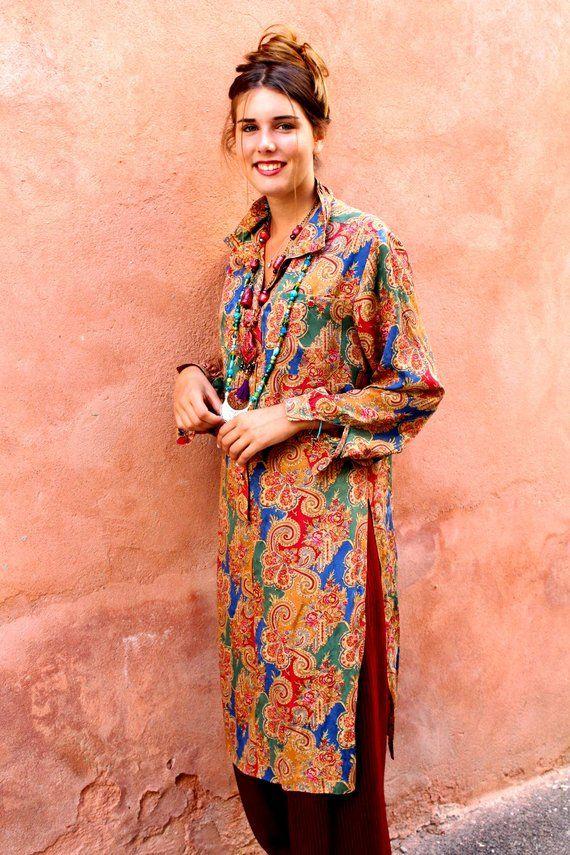 2c0b86acb264f Robe-tunique chic, soie imprimé cashmere, col drapé, robe chemisier ...