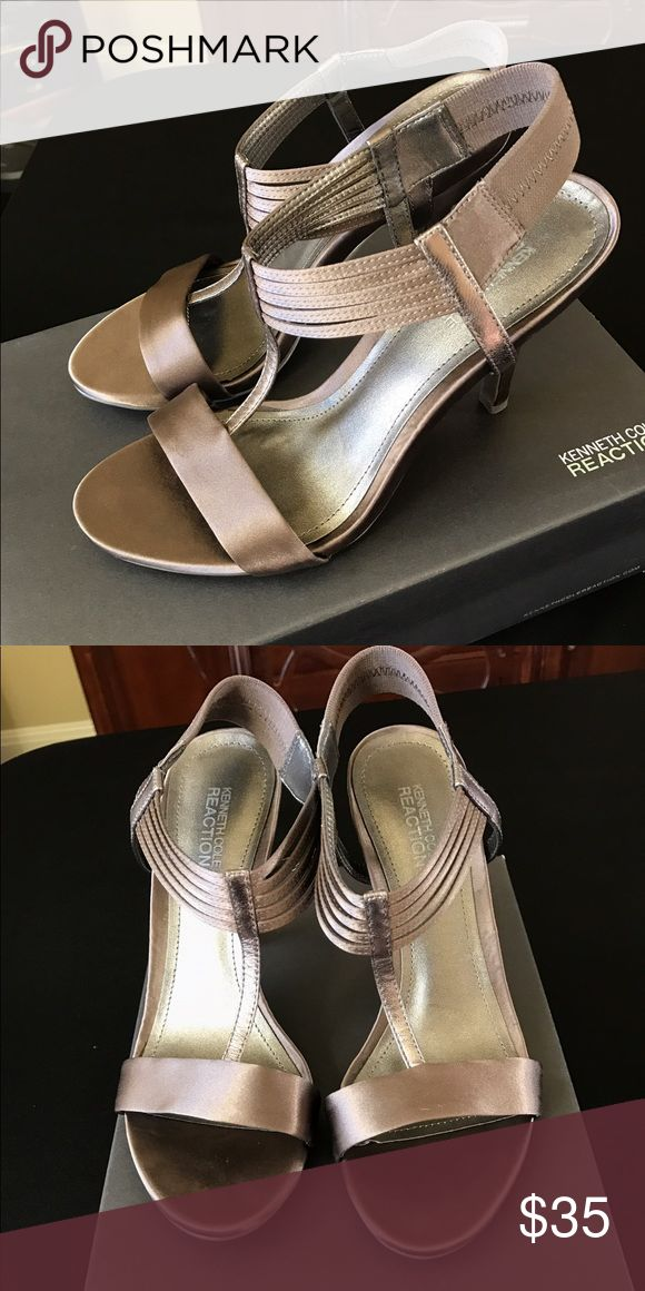 Kenneth Cole Reaction Strappy pewter colored heels Beautiful Pewter colored shoes.  Never worn. Kenneth Cole Reaction Shoes Heels
