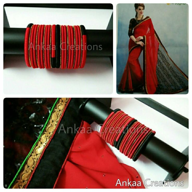 wow!! what a lovely combination of red and black.. these beautigul silk thread bridal bangles are done to match a saree.. since the saree is in simple..we decided to keep the bangles simple..simple yet beautiful smile emoticon for placing orders inbox at https://m.facebook.com/ankaa.creations or whatsapp @ 8050398758 #silk #silkthreadjewelery #silkthread #handmade #bridalbangles #silkthreadbangles #ecofriendly #ankaacreations